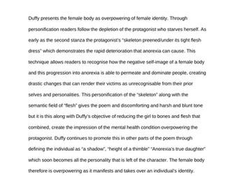 AQA Feminine Gospels The Diet Exemplar Paragraphs