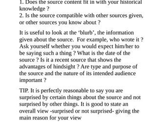 Source Work  Cambridge History  IGCSE