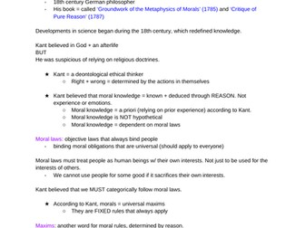 Kantian ethics notes OCR A-level notes
