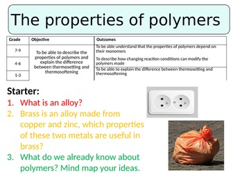 NEW AQA GCSE (2016) Chemistry  - The properties of polymers