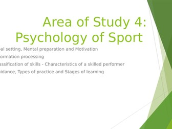 WJEC GCSE Area of Study 4 Psychology of Sport