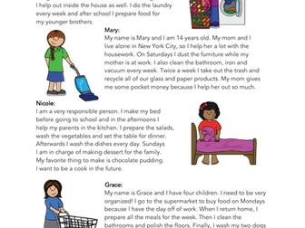 Chores / Household Tasks English Reading: ELL / EFL/ ESL