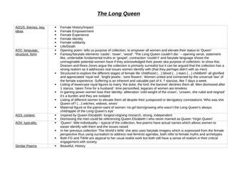 The Long Queen Analysis Revision Table