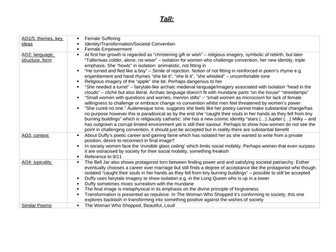 Tall Analysis Revision Table (read note in description)