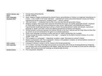 History & Anon Analysis Revision Table