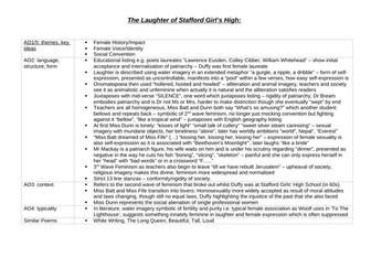 The Laughter of Stafford Girls' High Analysis Revision Table (read note in description)