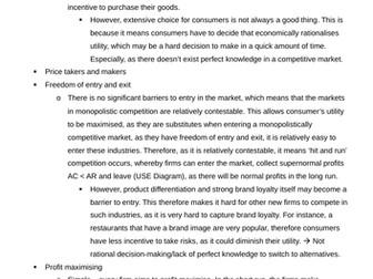 Theme 3 Edexcel Economics Essay Analysis for Market Structures