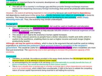 Theme 4 Edexcel Economic Essay Plans: Aid (Economic Development)