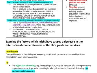 Theme 4 Edexcel Economics Essay Plans: International Competitiveness
