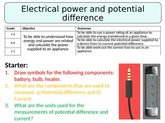 NEW AQA GCSE (2016) Physics - Electrical Power & Potential Difference
