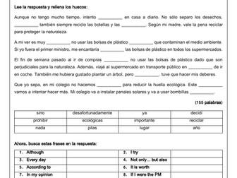 Spanish GCSE Environment Writing Scaffolds & Model Answers