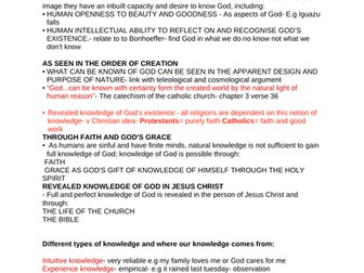 OCR RELIGIOUS STUDIES- Knowledge of God's existence NOTES