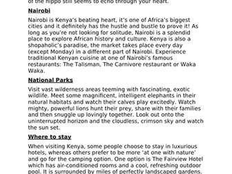 Visit Kenya advertisement
