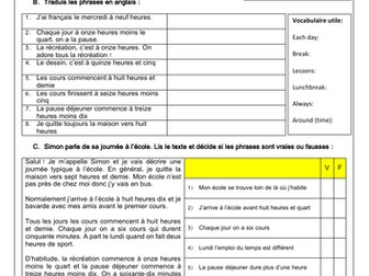 French GCSE Ma journée à l'école: school day & routine