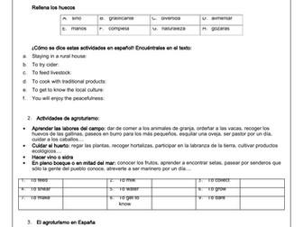 Spanish A Level Impacto del turismo en España: el agroturismo / environment- reading & translation