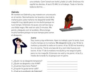Spanish Reflexive Verbs in Preterite Reading: Daily Routines Lectura (pretérito)