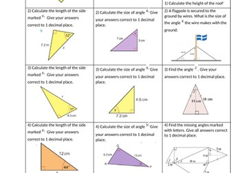 Trigonometry (SOHCAHTOA) differentiated worksheet with solutions to solve for sides and angles