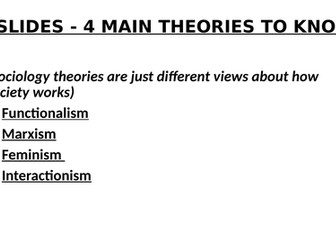 SOCIOLOGY 7 SLIDES - 4 MAIN THEORIES TO KNOW