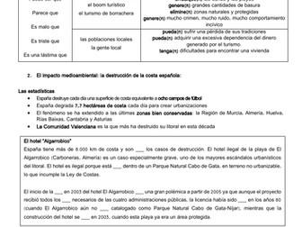 Spanish A Level: impacto negativo del turismo en  España: tourism - negative & environmental impacts