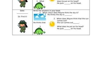 KS1 Visual Reading Comprehension Dinosaur