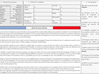French A Level Education - stress du bac (reading, exam question practice)