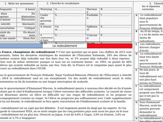 French A Level Education - redoublement (reading, exam question practice)
