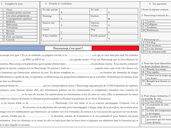 French A Level Education - Parcoursup orientation (reading, exam question practice)
