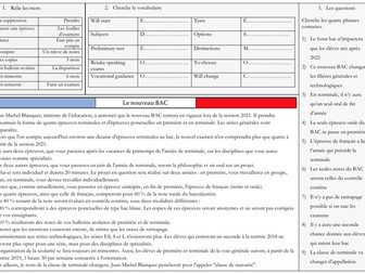 French A Level Education - Nouveau BAC (reading, exam question practice)