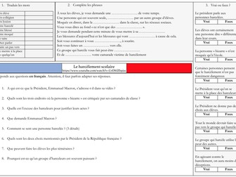 French A Level Education - Harcèlement bullying (listening, exam practice question)