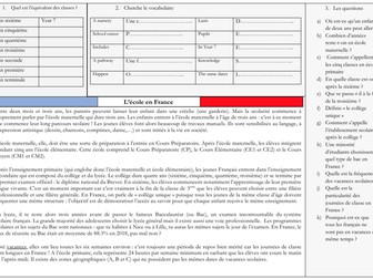 French A Level Education - types d'école (reading, exam practice questions)