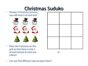Christmas suduko - differentiated Christmas worksheet - Y4