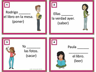 Irregular Preterite Spanish Task Cards: Pretérito: (Leyó, Repitió, Puso, Quiso)