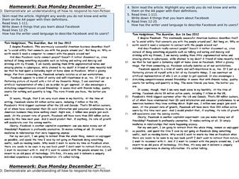 AQA Paper 2 Q3 Facebook worksheet/cover