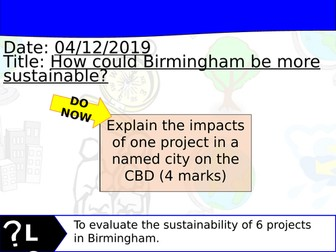 Changing Cities Lesson 9 - Geography Edexcel A