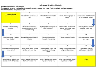 Spanish School Description, Routine, Teacher Translation Game & Practice with answers (KS3/GCSE)