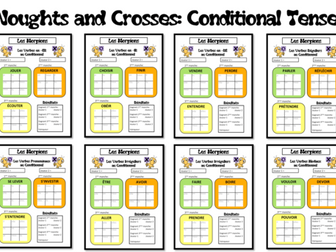 Morpions/ Noughts and Crosses- Grammar/ Conjugation Game- Conditional Tense- KS4 and KS5