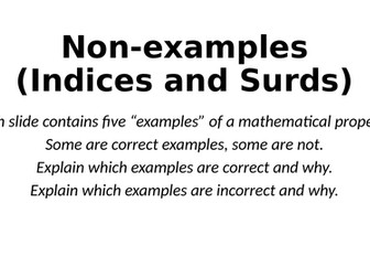 Non-Examples - Indices and Surds - Reasoning Tasks