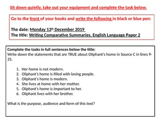 English Language Paper 2 Lessons: Reading Section