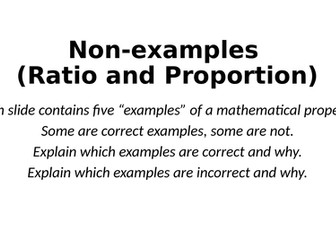 Non-Examples - Ratio and Proportion - Reasoning Tasks