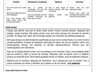 Spanish Food & Drink Longer Writing Model answer, Scaffold & Translation (la comida)