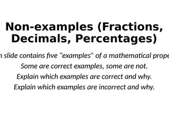 Non-Examples - Fractions, Decimals and Percentages - Reasoning Tasks