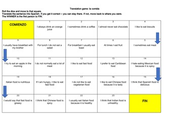 Spanish Food & Drink (La comida) Translation Game & Practice with answers (KS3)