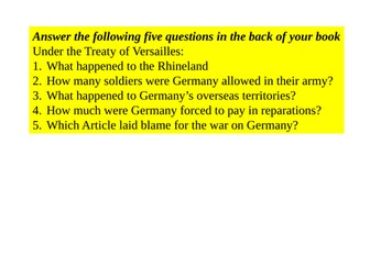 Lesson 4: What was the impact of the Treaty of Versailles on Germany?