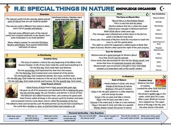 RE - Special Things in Nature Knowledge Organiser!