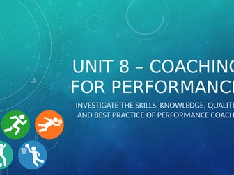 Unit 8: Coaching for Performance - Unit of Work