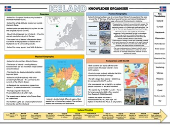 Iceland Knowledge Organiser - KS2 Geography Place Knowledge!