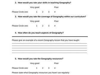 Geography Staff Audit/ Questionaire.