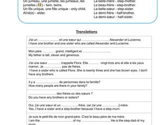 La Famille Worksheet for GCSE French