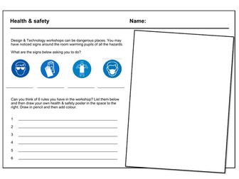 D&T cover work / cover lesson - Health & Safety poster - 1hr activity
