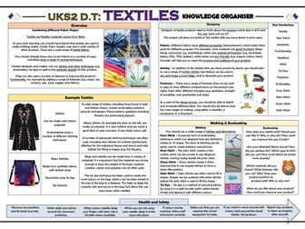 DT: Textiles - Combining Different Fabric Shapes - Upper KS2 Knowledge Organiser!